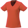 Orange - Front - Elevate Womens-Ladies Amery Short Sleeve Cool Fit V-Neck T Shirt