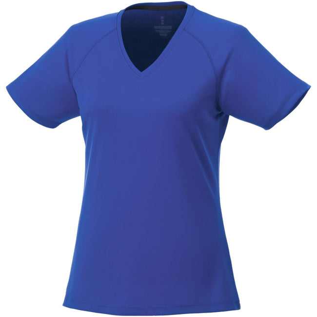 Blue - Front - Elevate Womens-Ladies Amery Short Sleeve Cool Fit V-Neck T Shirt