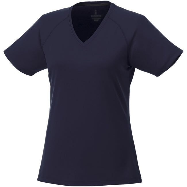 Navy - Front - Elevate Womens-Ladies Amery Short Sleeve Cool Fit V-Neck T Shirt