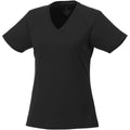 Black - Front - Elevate Womens-Ladies Amery Short Sleeve Cool Fit V-Neck T Shirt