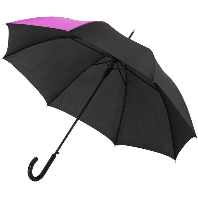 Magenta-Solid Black - Front - Bullet 23 Inch Lucy Automatic Open Umbrella