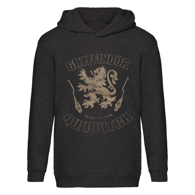 Charcoal Marl - Front - Harry Potter Childrens Boys Gryffindor Quidditch Team Captain Hoodie