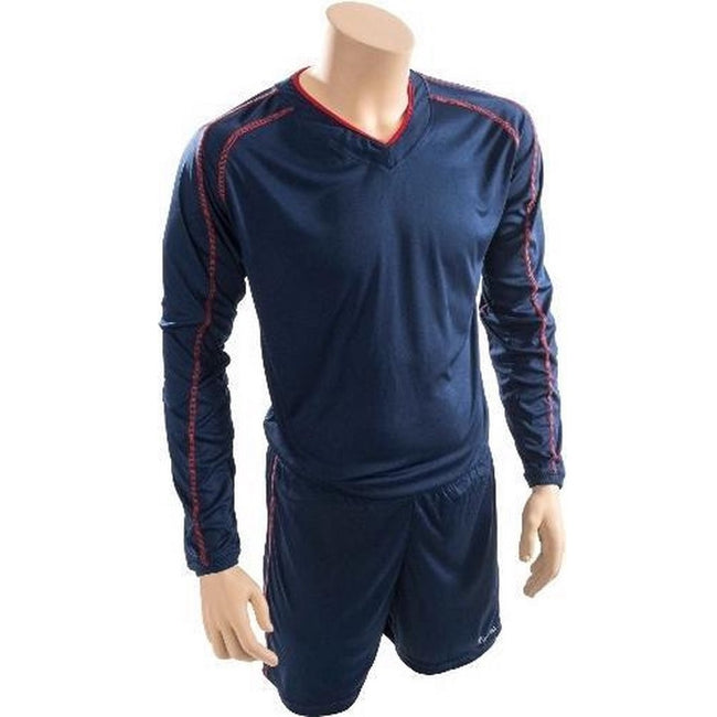 Navy-Red - Front - Precision Unisex Adult Marseille T-Shirt & Shorts Set
