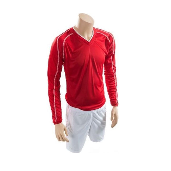 Red-White - Front - Precision Unisex Adult Marseille T-Shirt & Shorts Set