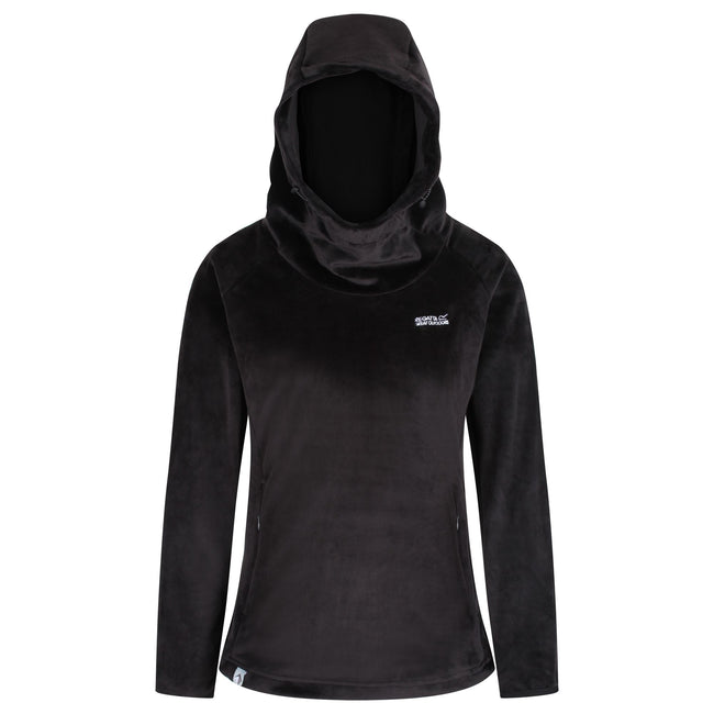 Black - Front - Regatta Womens-Ladies Halia Velour Hoodie