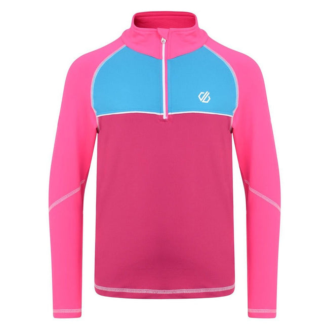 Fuschia-Cyber Pink - Front - Dare 2B Childrens-Kids Formate Core Stretch Half Zip Midlayer