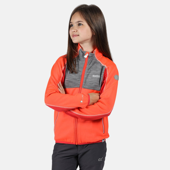 Fiery Coral-Dapple - Lifestyle - Regatta Childrens-Kids Oberon II Full Zip Stretch Midlayer