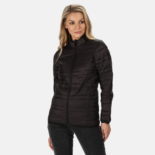 Black - Back - Regatta Womens-Ladies Firedown Baffled Quilted Jacket