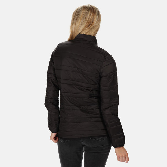 Black - Side - Regatta Womens-Ladies Firedown Baffled Quilted Jacket