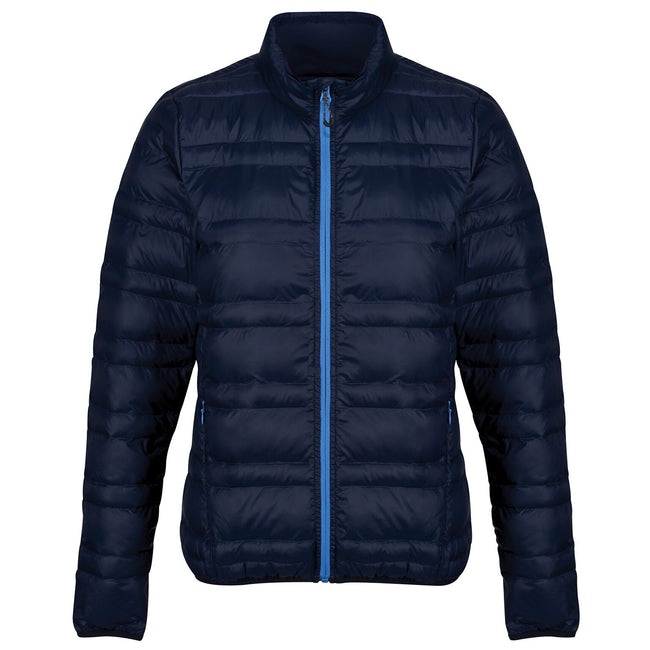 Navy-French Blue - Front - Regatta Womens-Ladies Firedown Baffled Quilted Jacket