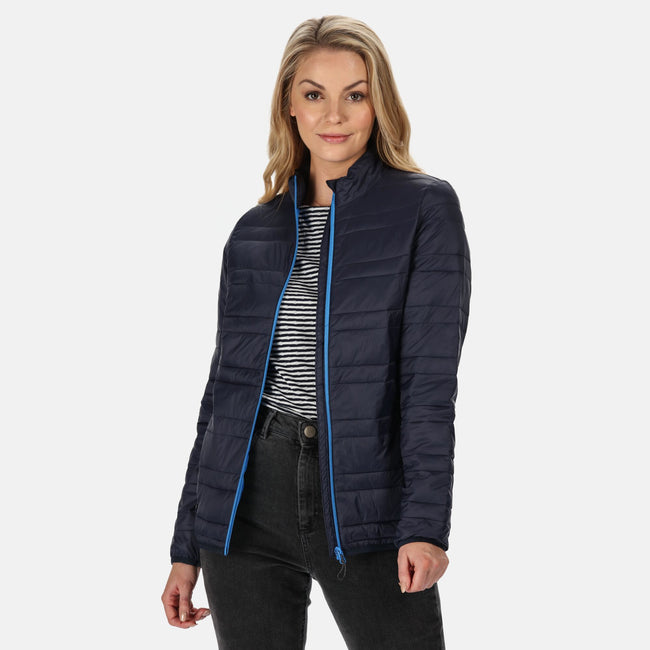 Navy-French Blue - Back - Regatta Womens-Ladies Firedown Baffled Quilted Jacket