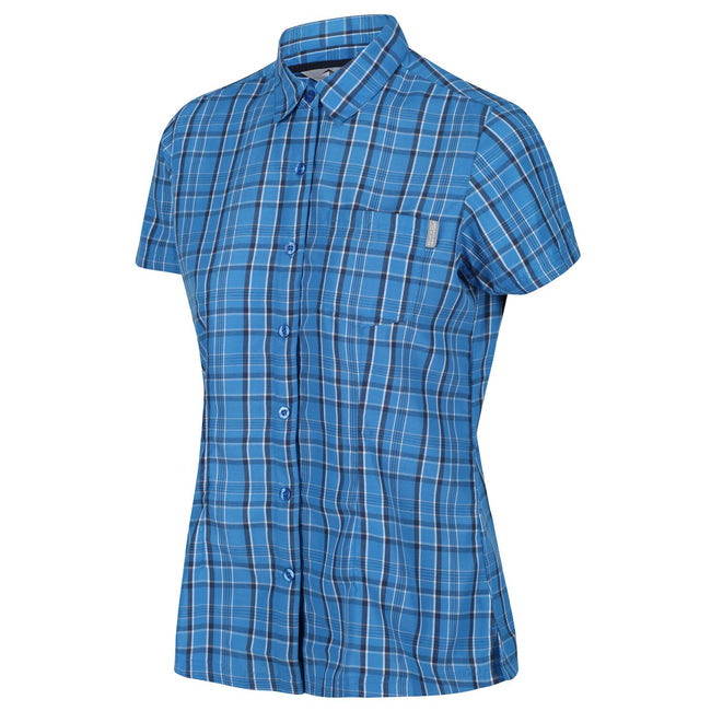 Blue Aster Check - Front - Regatta Womens-Ladies Mindano V Short Sleeved Shirt