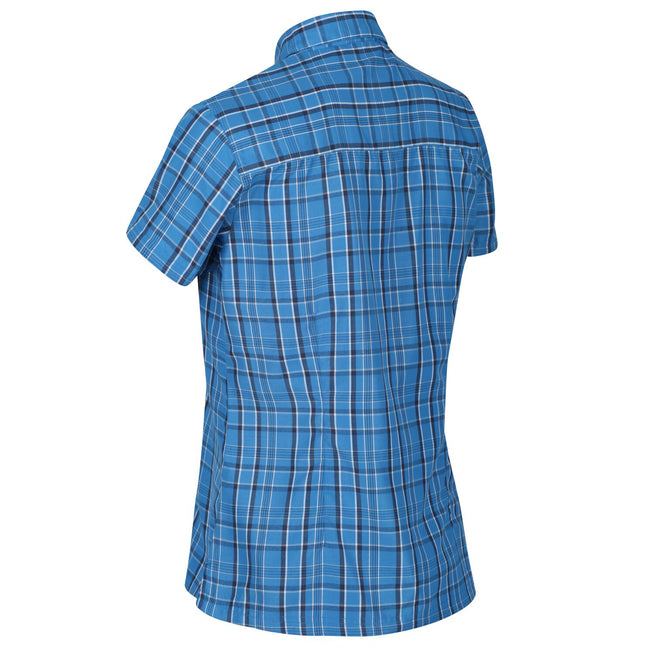 Blue Aster Check - Back - Regatta Womens-Ladies Mindano V Short Sleeved Shirt