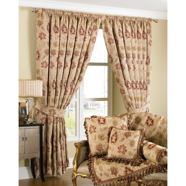 Champagne - Front - Riva Home Zurich Pencil Pleat Curtains