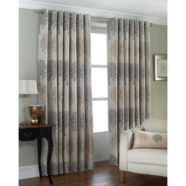 Silver - Front - Riva Home Oakdale Tree Design Eyelet Curtains