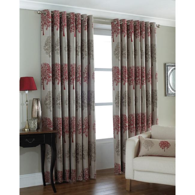 Red - Front - Riva Home Oakdale Tree Design Eyelet Curtains