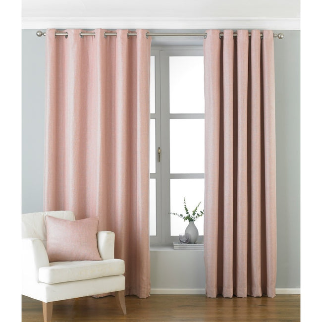 Blush - Front - Riva Paoletti Atlantic Ringtop Eyelet Curtains