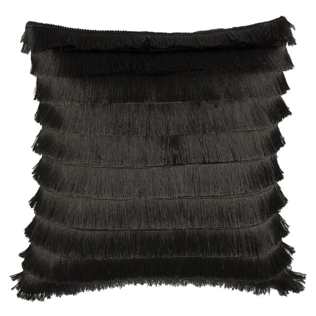 Graphite - Front - Furn Flicker Tiered Fringe Cushion Cover