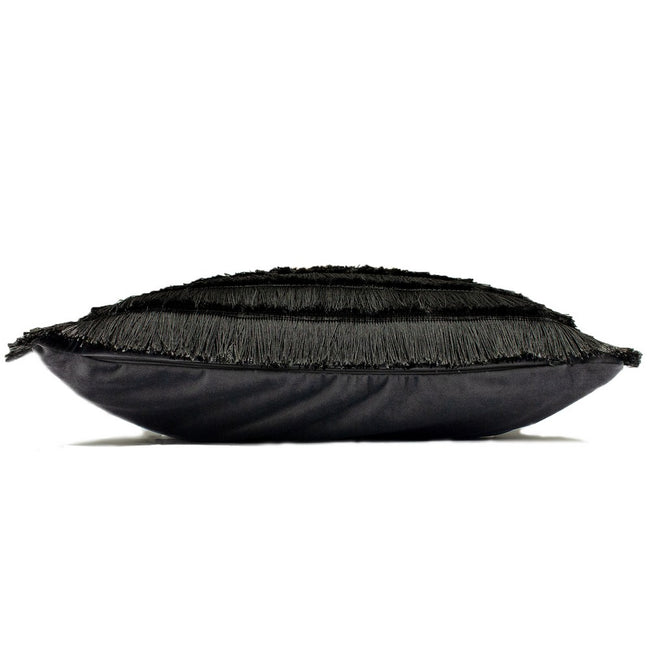 Graphite - Side - Furn Flicker Tiered Fringe Cushion Cover