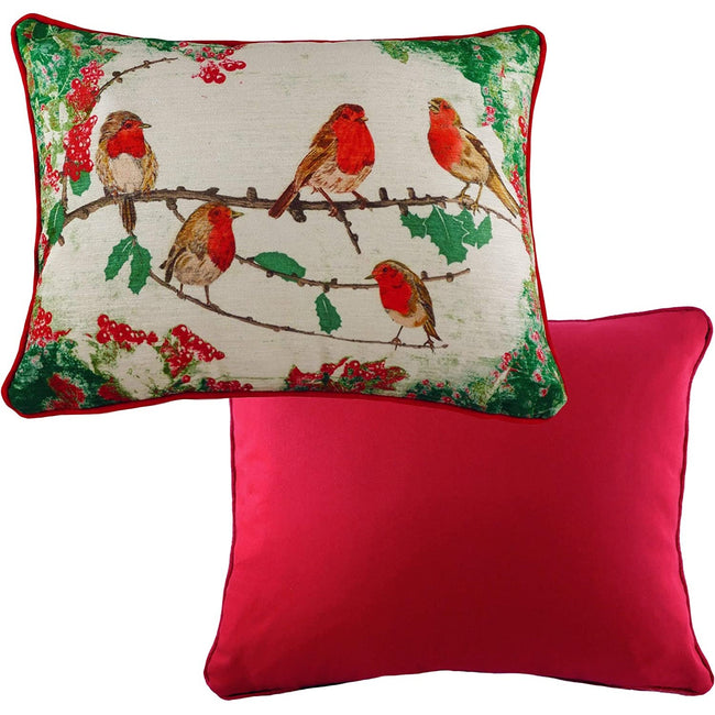 Red-Green-White - Back - Evans Lichfield Chenille Robin Christmas Cushion Cover