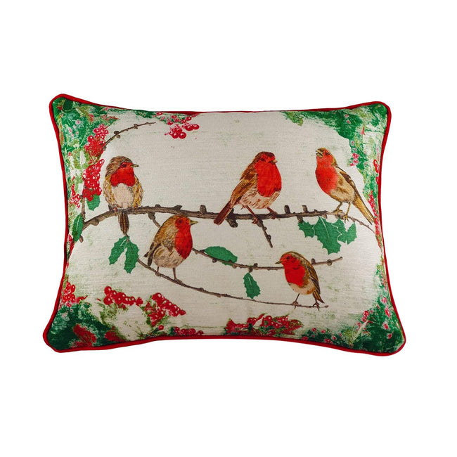 Red-Green-White - Front - Evans Lichfield Chenille Robin Christmas Cushion Cover