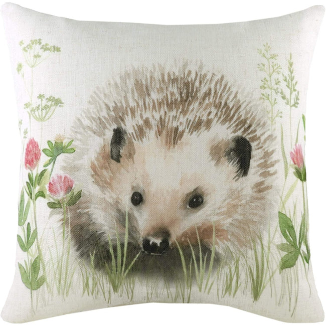 Off White-Brown-Green - Front - Evans Lichfield Hedgerow Hedgehog Cushion Cover