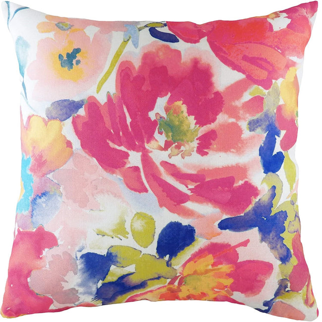 Multicoloured - Front - Evans Lichfield Aquarelle Floral Cushion Cover