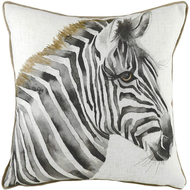 White-Brown - Front - Evans Lichfield Safari Zebra Cushion Cover