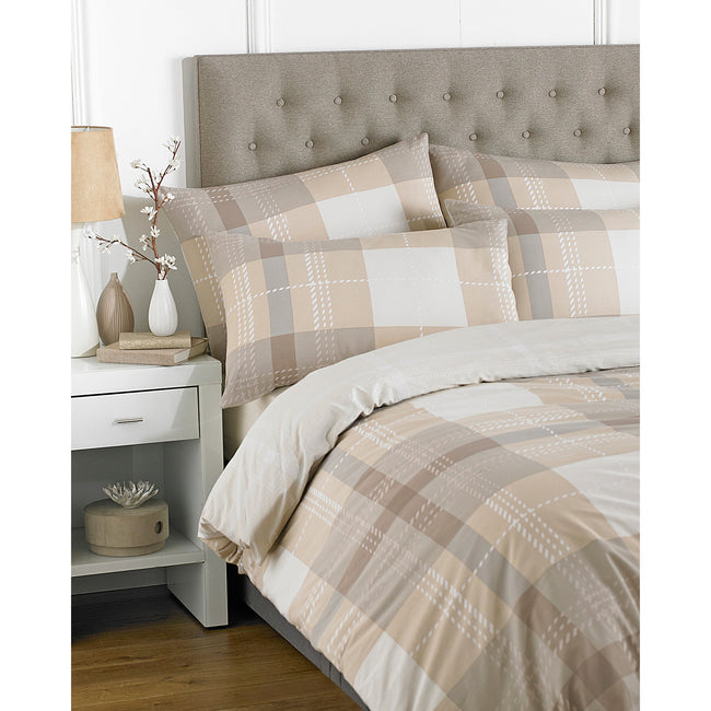 Natural - Front - Riva Home Clubhouse Check Duvet Set