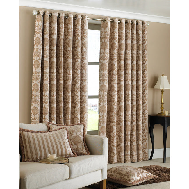 Beige - Back - Riva Home Hanover Ringtop Curtains