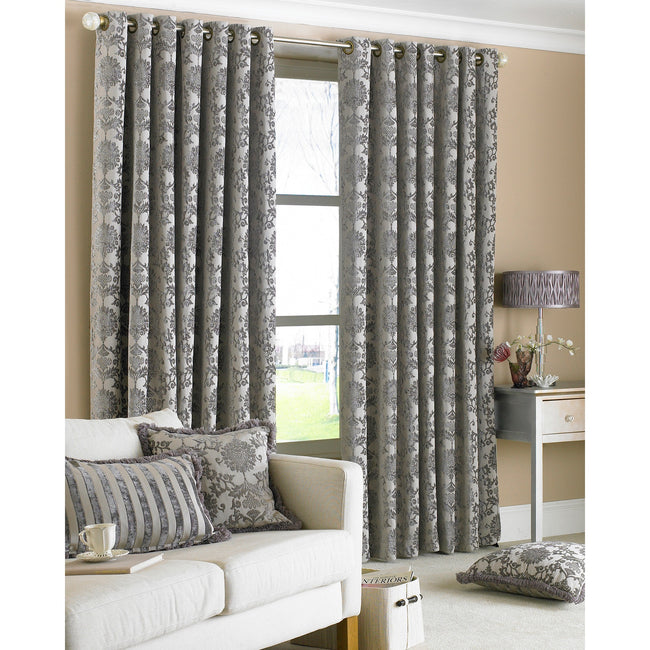 Silver - Back - Riva Home Hanover Ringtop Curtains