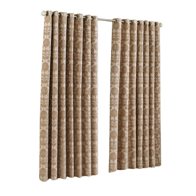 Beige - Front - Riva Home Hanover Ringtop Curtains