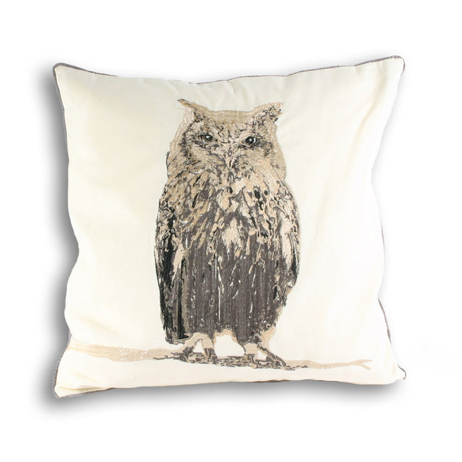 Cream - Front - Riva Home Owl Square Cushion Cover
