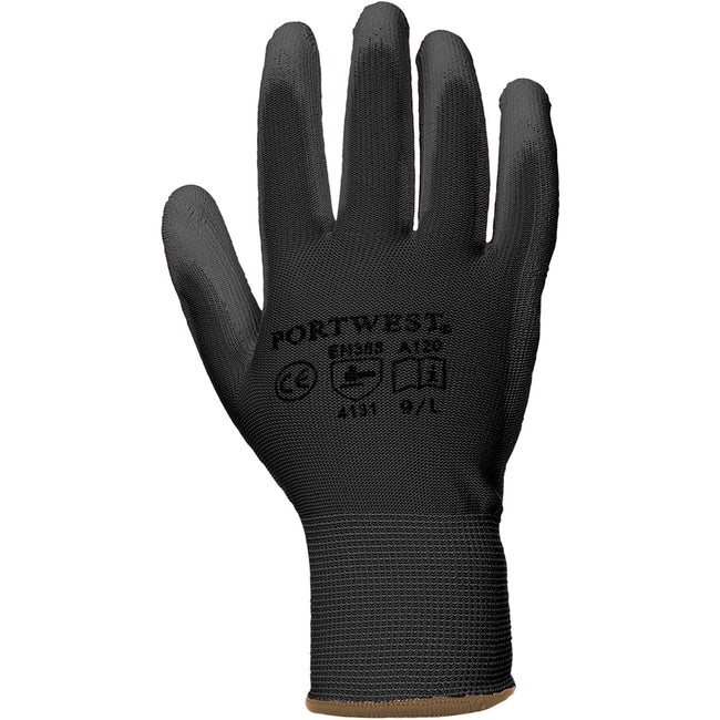 Black - Front - Portwest PU Palm Coated Gloves (A120) - Workwear