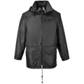 Black - Side - Portwest Mens Classic Rain Jacket (S440)