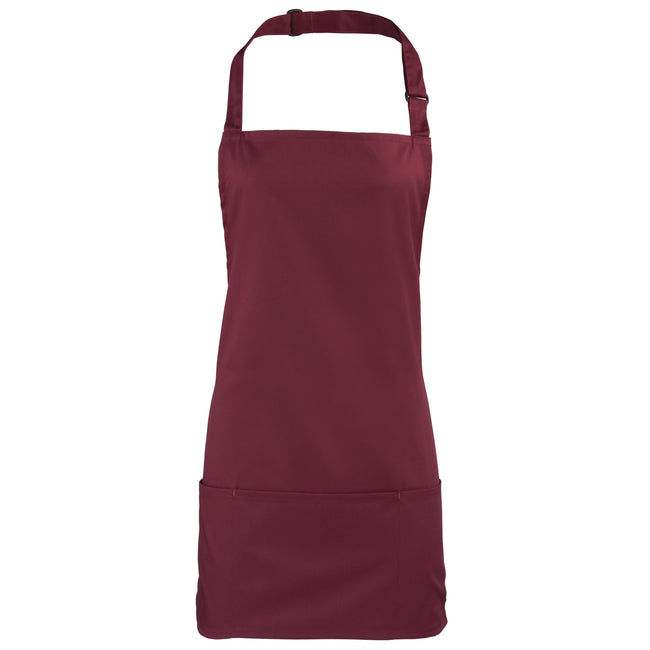 Burgundy - Front - Premier Colours 2-in-1 Apron - Workwear