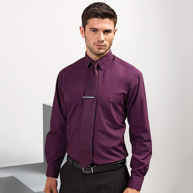 Aubergine - Back - Premier Mens Long Sleeve Formal Plain Work Poplin Shirt