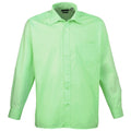 Lime - Front - Premier Mens Long Sleeve Formal Plain Work Poplin Shirt