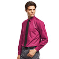 Hot Pink - Front - Premier Mens Long Sleeve Formal Plain Work Poplin Shirt