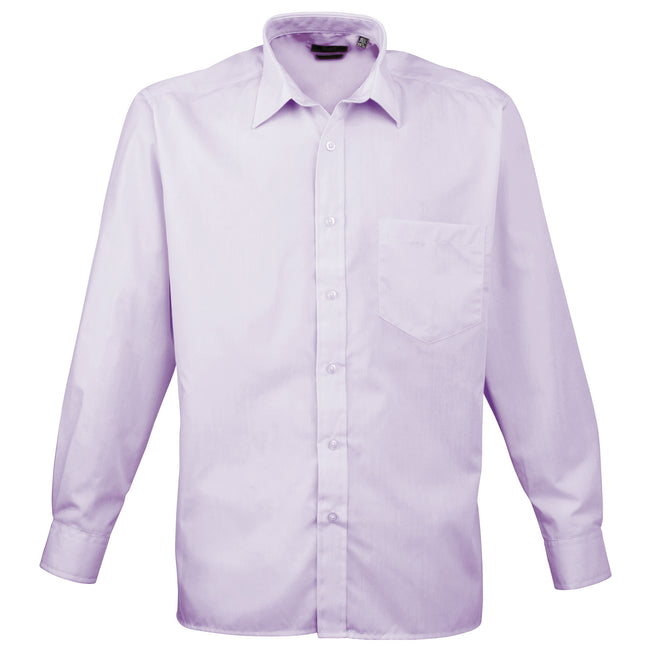 Hot Pink - Back - Premier Mens Long Sleeve Formal Plain Work Poplin Shirt