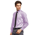 Lilac - Front - Premier Mens Long Sleeve Formal Plain Work Poplin Shirt