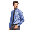 Mid Blue - Front - Premier Mens Long Sleeve Formal Plain Work Poplin Shirt