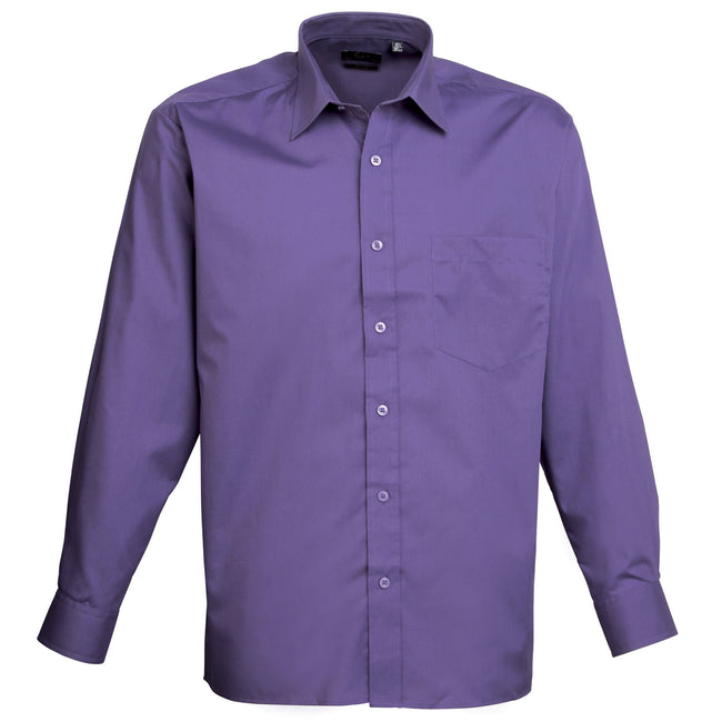 Pink - Back - Premier Mens Long Sleeve Formal Plain Work Poplin Shirt