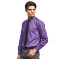Purple - Front - Premier Mens Long Sleeve Formal Plain Work Poplin Shirt