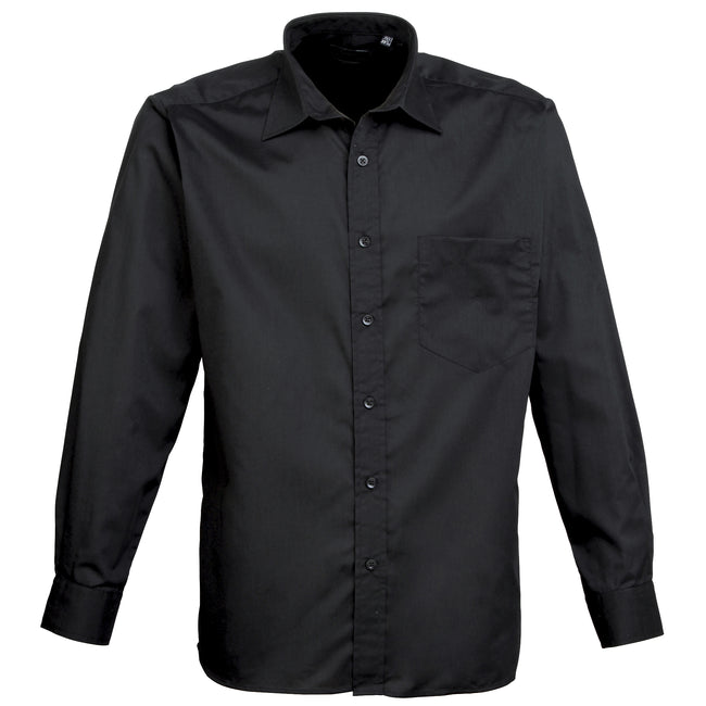 Turquoise - Back - Premier Mens Long Sleeve Formal Plain Work Poplin Shirt