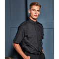 Black - Back - Premier Mens Short Sleeve Pilot Plain Work Shirt