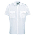Light Blue - Back - Premier Mens Short Sleeve Pilot Plain Work Shirt
