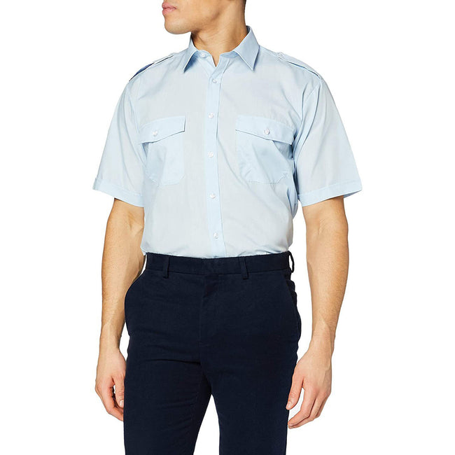 White - Front - Premier Mens Short Sleeve Pilot Plain Work Shirt
