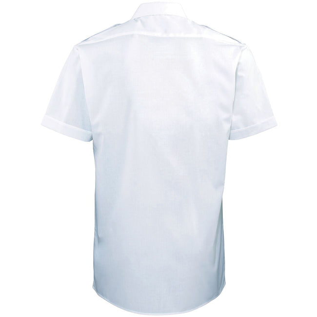 White - Back - Premier Mens Short Sleeve Pilot Plain Work Shirt