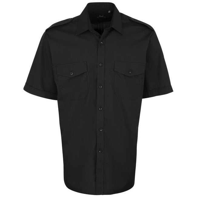 Black - Front - Premier Mens Short Sleeve Pilot Plain Work Shirt